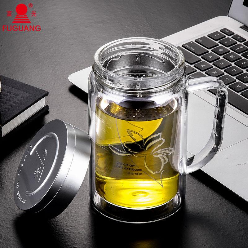 富光双层玻璃杯透明带盖700便携水
